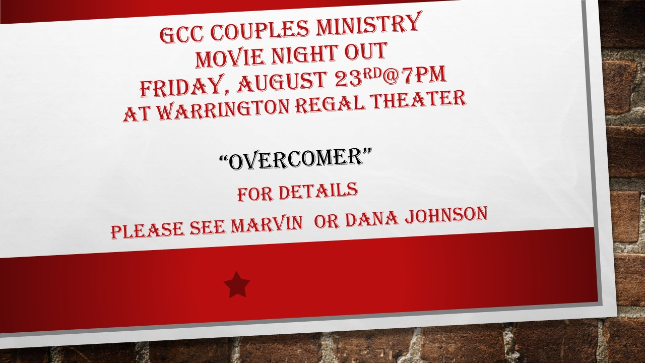 GCC Couples Ministry  Movie Night