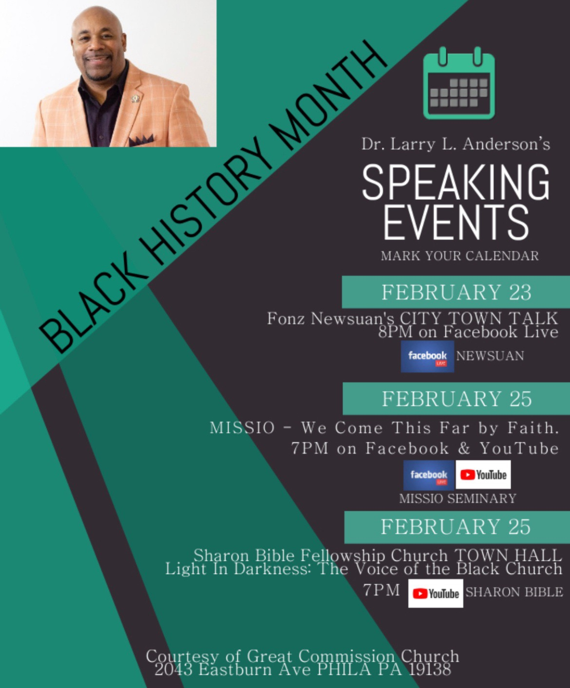Black History Month: Pastor Larry L. Anderson's Speaking Engagements